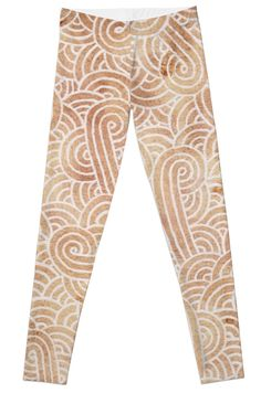 """""""Iced coffee and white zentangles"""" Leggings by Savousepate on Redbubble #leggings #leggins #pants #clothing #abstract #zentangles #doodles #scrolls #spirals #brown #chocolate #icedcoffee #pantonecolors2016"""