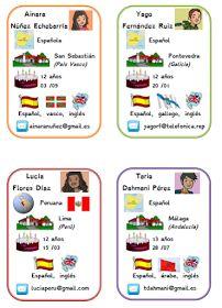 Alexandra a créé ces petites fiches à partir des personnages de Reporteros 5e. Elles sont supers !        Merci Alexandra !