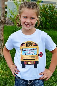 SCHOOL BUS SHIRT i could do something similar for chase when he starts school Preschool Shirts, Preschool Kindergarten, Energy Bus, Spirit Wear, Back To School, School Stuff, Third Grade, Diy Clothes, Summer Fun