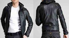 Son Moda Colins Kapşonlu Erkek Deri Mont Modelleri Resimleri