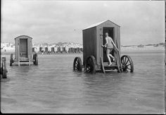 Bathing machine (in the Russian and Austro-Hungarian Empire was known as a bathing van) - popular in the XVIII and XIX centuries, the adaptation for swimming in sea beaches, allows men and women to swim, keeping the moral standards of those times. Represents a covered wagon with wooden or canvas walls. Bathing machines were a necessary part of beach etiquette, they hid bathers from prying eyes.