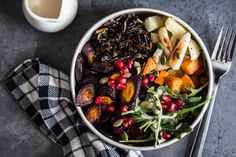 Earthy wild rice pairs perfectly with roasted root vegetables in these healthy meal bowls.