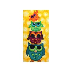 This whimsical owl paintings is sure to being color and smiles to any room. The 4 colorful owls sit on top of each other creating a totem, the tiny