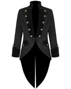 Black Brocade Men Handmade Tail coat Jacket Goth Steampunk Victorian VTG #Tailcoat