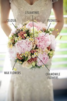 Pink peony bridal bouquet // Floral Bouquet Recipes by Theme - Part 1