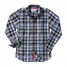Robert Graham Spring Water Shirt in Blue/Black Checkered Pattern