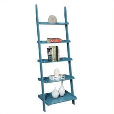 Convenience Concepts French Country Bookshelf Ladder - Blue ($92) ❤ liked on Polyvore featuring home, furniture, storage & shelves, bookcases, shelves, blue, book display shelf, book display shelves, ladder display shelf and book-case