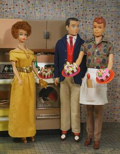 Barbie, Ken and Allan in the Deluxe Dream Kitchen by Reading/Topper Toys (1963) by Hey Sailor Greetings