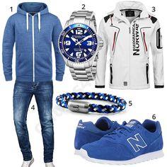 Sportlicher Herren-Look in Blau und Weiß (m0903) #blau #weiss #softshell #newbalance #uhr #hoodie #outfit #style #herrenmode #männermode #fashion #menswear #herren #männer #mode #menstyle #mensfashion #menswear #inspiration #cloth #ootd #herrenoutfit #männeroutfit