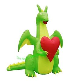 Valentines Day Dragon Holding a Heart Inflatable.  Surprise that special someone with this new 2017 Valentines Day Romantic Dragon Inflatable.  This Valentines Inflatable features our friendly 7 foot dragon holding a large red heart. So, supersize your Valentines Season celebrations of love with this adorable large dragon airblown inflatable.  Happy Valentines Day!
