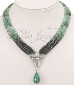 Source Handcrafted 3 Strands Emerald Shaded Necklace-Designer Piece- Bello jewels Gurgaon on m.alibaba.com