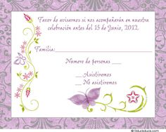 Wedding rsvp wording ideas and format 2017 edition wedding rsvp spanish birthday invitation verses chic butterfly reply card spanish front lavender silver stopboris Image collections