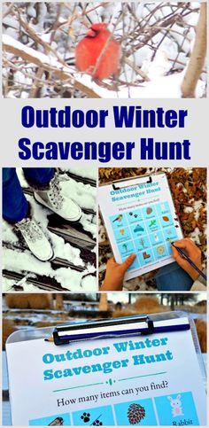 FREE Printable Winter Scavenger Hunt list for kids! #outdoor #scavengerhunt