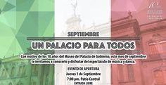 El mes de septiembre arranca con una gran celebración! El Museo de Palacio de Gobierno cumple 10 años y queremos que lo festejes con nosotros con una gran fiesta de música danza y mucho más. Nos vemos a partir de las 19:00h la entrada es libre! #EstoEsCONARTE