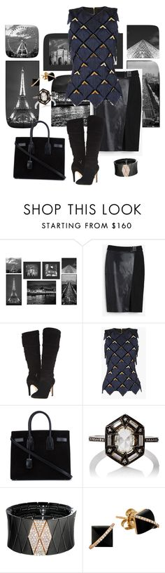"""""""All Business🏗"""" by parnett ❤ liked on Polyvore featuring PTM Images, White House Black Market, GUESS, Balmain, Yves Saint Laurent, Cathy Waterman, Roberto Demeglio and Madyha Farooqui"""
