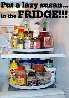 Lazy Susan in fridge! Heck yea! so doing this. Amazon sells them so cheap!