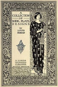Ex libris by Art Nouveau illustrator Louis Rhead (1857–1926). Frontispiece of A Collection of Book Plate Designs, published in 1907 http://www.johncoulthart.com/feuilleton/2010/04/29/louis-rhead-bookplates/