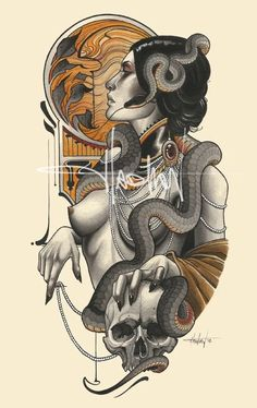 Dark Art Drawings, Art Drawings Sketches Simple, Tattoo Sketches, Tattoo Drawings, Neo Traditional Art, Skull Tattoo Flowers, Art Nouveau Mucha, Nouveau Tattoo, Neo Tattoo