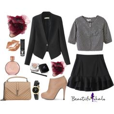 BEAUTIFULHALO II-5 by albinnaflower on Polyvore featuring polyvore, fashion, style, Yves Saint Laurent, Kate Spade, Manic Panic, Estée Lauder, modern, clothing and bhalo