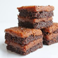 Makes 32 one inch brownies     For the brownies:      2 cups flax meal  1/2 cup unsweetened cocoa powder    1/2 tsp baking powder  1/4 tsp kosher salt  1 Tbl stevia powder  1/2 cup  smooth almond butter  2 eggs  1/4 cup coconut oil  2 Tbl Torani SF chocolate flavored syrup       Preheat oven to 350 degrees (F).