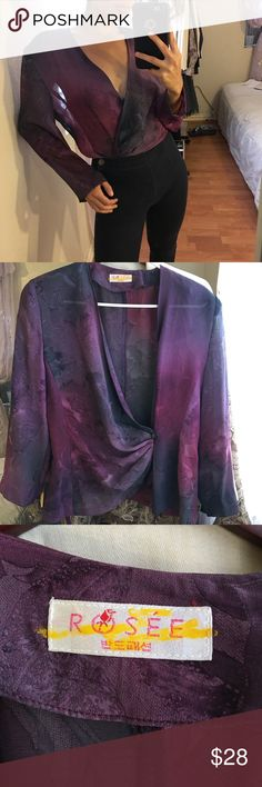 Vintage Purple Sheer Top such a beautiful color! so pretty and flirty! has padding on shoulders, but with the right tools they can be removed. size tag and fabric content is in korean. fits like S/M approx. Model usually wears XS, but has extra room on shoulders. Vintage Tops Blouses