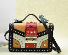 Saffiano Leather Flap Bag BN0969 Black&White&Apricot&Red Prada Outlet, Prada Saffiano, Prada Bag, Shoulder Strap, Shoulder Bags, Purses, Black And White, Red, Leather