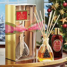 Smell of christmas reed diffuser set with christmas tree design