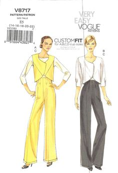 Very Easy Vogue 8717 High Waisted Pants, Jacket, Vest Pattern Plus Size 14 16 18 20 22 Uncut by TheTasteLady on Etsy Vogue Sewing Patterns, Mccalls Patterns, Vintage Sewing Patterns, Dress Patterns, Clothes Patterns, Vest Pattern, Top Pattern, Vest Jacket, Bolero Jacket