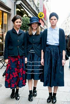PFW Street Style - Fashion Trio. socks, patent leather shoes and midi skirt madness.
