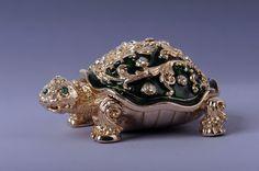 Faberge Turtle trinket box by Keren Kopal Swarovski Crystal Jewelry box