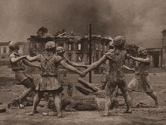 Fountain of Barmaley in Stalingrad Russia, photo taken shortly after the battle of Stalingrad in 1943.