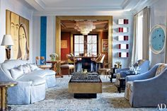 World-class art and a Doris Leslie Blau rug supply color in a Manhattan living room by designer James Aman.