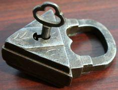 Rare Antique European Padlock, with original key.