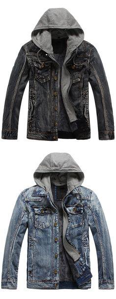 Pocket Design Detachable Hood Denim Jacket