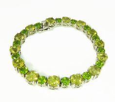 Gemstone Tennis Bracelet Sterling Silver Peridot Citrine 17 ctw - Premier Estate Gallery  - 3