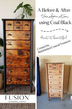 Tasma from Refurbished Coastal Treasures took this plain tall dresser and turned it into a stunning piece with Coal Black from Fusion. Check out her Facebook page for more transformations. #paintitbeautiful #furniturepaint #furnitureideas