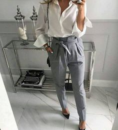 Impressive Button Down Shirt With High Waisted Belted Narrow Feet Pants