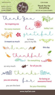Clear Stamps - Thank You Sentiments for paper crafting projects