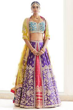 Shop Seema Gujral Embellished Lehenga Set , Exclusive Indian Designer Latest Collections Available at Aza Fashions Indian Fashion Designers, Indian Designer Wear, Indian Wedding Outfits, Indian Outfits, Indian Clothes, Indian Weddings, Lehenga Skirt, Lengha Choli, Girl Fashion