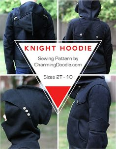 Knight Hoodie sewing pattern this is soo cool but looks do hard to put together Kids Clothes Patterns, Sewing Patterns For Kids, Sewing Projects For Kids, Sewing For Kids, Clothing Patterns, Knight Hoodie, Fall Sewing, Hoodie Pattern, Little Girl Fashion