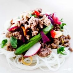 Juicy stir fried beef with a refreshing lemongrass tang! A great light dinner salad. I think it would be awesome over julienned jicama instead of noodles... Or maybe some kelp noodles?