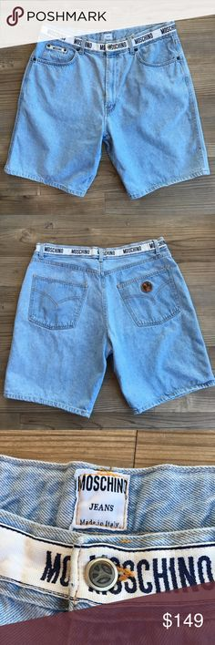 """Vintage Moschino Men's Jean Shorts - Can be unisex Vintage and Rare Men's Moschino Jean Shorts Moschino Branded waist band High Waisted Shorts could be worn unisex 100% Cotton Light Wash 90's Style Jean Shorts Moschino Jeans Made in Italy  *The size tag isn't clear but these fit my husband perfectly and he is a true size 34* Please see measurements and the tag for sizing  Approximate Measurements: 17.5"""" Waist Flat 12"""" Rise 9.5"""" Short Length Non-smoking home  No stains or holes *Missing…"""