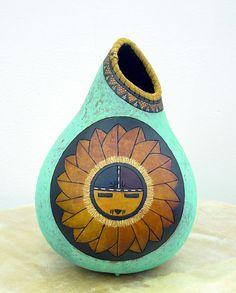 Beautiful Patina Gourd Pot by John Gibson John Gibson, Hand Painted Gourds, Gourds Birdhouse, Gourd Art, Native Art, Pyrography, Food Design, Beautiful Artwork, Wood Carving