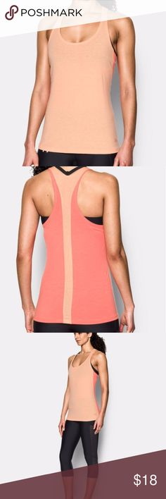 NWT Under Armour Womens Flow Tank in Playful Peach Workout in style in this Under Armour soft racerback tank, brand NEW with tags! Super-soft stretch knit construction delivers superior comfort & mobility Burnout effect offers a super-breathable semi-sheer finish Signature Moisture Transport System wicks sweat to keep you dry & light Classic racer back detail unlocks range of motion Modern crew neckline Under Armour Tops Tank Tops