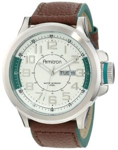 Armitron Men's 20/4859GNSVBN Easy-to-Read Dial Green Leather Strap Watch Armitron. $56.24. Textured brown genuine leather strap with green edges and stainless-steel buckle closure. Silver-tone reflector ring with green sections at 3 & 9 o'clock and black printed outer minute track. Large 45 mm round brushed silver-tone stainless-steel case; textured crown with green rubber gasket. Water-resistant to 50 M (165 feet). Easy-to-read silver-tone dial with applied silver-tone a...
