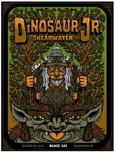 Dinosaur Jr, Washington DC 2012 by Matt Leunig Rock Posters, Concert Posters, Gig Poster, Music Posters, Dinosaur History, Dinosaur Jr, Visual Communication Design, Eric Church, Music Images