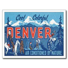 Vintage Denver CO Travel Poster Art Post Card