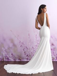 Allure Bridals 3101 Wedding Dress - Part of the Allure Romance collection. Elegant Ivory V-Neck Mermaid Soft Satin Wedding Dress Evening Gown With Long Train Plain Wedding Dress, Crepe Wedding Dress, Wedding Dress Buttons, Western Wedding Dresses, Classic Wedding Dress, Dream Wedding Dresses, Bridal Dresses, Satin Wedding Dresses, Simple Elegant Wedding Dress