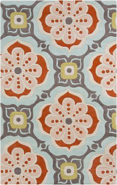 Blue, coral, and pink make for a cute flower print on this wool rug from the Alhambra Collection by Surya. (ALH-5007)