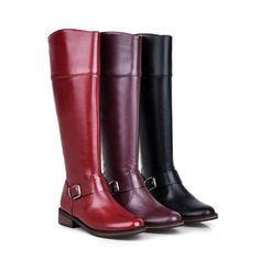 Fashion Women Warm Zip Winter Knee High Riding Boots Flats Oxfords Ladies Shoes